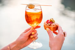 Glass with Spritz Aperol alcohol drink Stock Photos