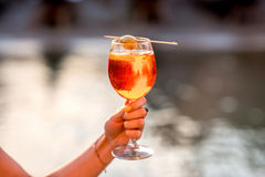 Glass with Spritz Aperol alcohol drink Royalty Free Stock Photo