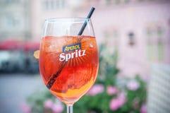 Glass of spritz on restaurant terrace Stock Photo