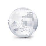 Glass Square Asia & Australia world map 3D illustration. On white background Stock Photos