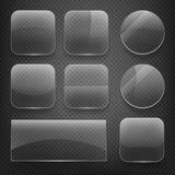 Glass square, rectangular and round buttons on checkered background. Vector icons set Royalty Free Stock Images