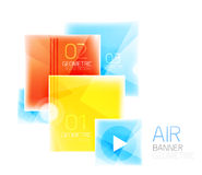 Glass square web box, infographics banner. Business air light glossy design template with buttons and option text Stock Photography