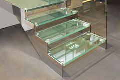 Glass Stairs. With Metal Structure in Contemporary Home Royalty Free Stock Photography