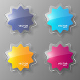 Glass stars set. Vector illustration. Royalty Free Stock Images