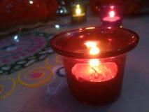Glass stearinljus Fotografering för Bildbyråer