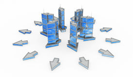 Glass and Steel, Arrow Building Spread Stock Images