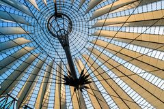 Glass and steel roof of Sony Centre in Berlin. BERLIN, GERMANY - June 9, 2018: Spectacular roof of the Sony Center, a Sony-sponsored building complex located at Stock Images