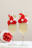 Glass, stemware of champagne. Two beautiful glass of champagne royalty free stock photos
