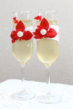 Glass, stemware of champagne. Two beautiful glass of champagne royalty free stock photography