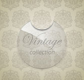 Glass sticker on damask pattern background. Royalty Free Stock Images
