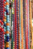 Glass and stone beads on the market Royalty Free Stock Photography