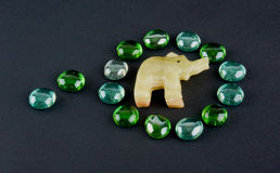 Glass stones and onyx elephant Royalty Free Stock Image