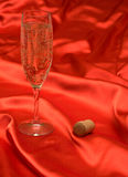Glass and stopper. A glass of champagne and the cork on a red cloth Royalty Free Stock Photo