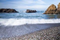 Glass strand, Fort Bragg Kalifornien Arkivfoto