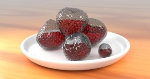 Glass Strawberries With Juice Inside Them. Rendered 3D Abstract Glass Strawberries With Juice Inside Them On Porcelain Plate On Wooden Table Stock Images