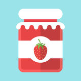 Glass strawberry jam jar Stock Images
