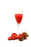 Glass of strawberry juice Stock Photo