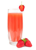 Glass of strawberry juice with berries Stock Image