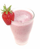Glass with strawberry milkshake Royalty Free Stock Photography