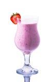 Glass of strawberry milkshake on a white background Royalty Free Stock Photos
