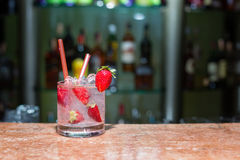 Glass of strawberry mojito. On marble table Royalty Free Stock Photo