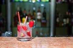 Glass of strawberry mojito Royalty Free Stock Photo