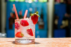 Glass of strawberry mojito Royalty Free Stock Photo