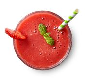 Glass of strawberry smoothie stock images