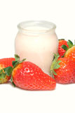 Glass of strawberry yoghurt Royalty Free Stock Photos