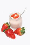 Glass of strawberry yoghurt Royalty Free Stock Photography