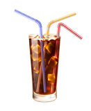 Glass And Straws Realistic Illustration Stock Image