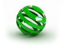 Glass striped green sphere. (image can be used for printing or web Royalty Free Stock Photo