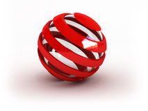 Glass striped red sphere. (image can be used for printing or web Royalty Free Stock Photo