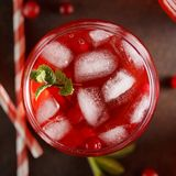 The glass with summer cold drink with cranberry, ice cubes and mint on brown background. Top view close-up Stock Photo