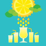 Glass of summer lemonade drink on blue background Royalty Free Stock Photography