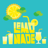 Glass of summer lemonade drink on blue background Stock Photo