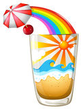 A glass with a summer template Stock Photo