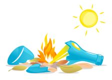 Glass with Sun Light Create Fire. A broken bottle left in the sun with dry leaves causes a fire, nature disaster concept illustration, poster danger, careful Stock Images
