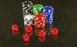 On the glass surface are recognized and red dice poker Royalty Free Stock Photography