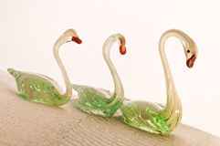 Glass swans Royalty Free Stock Image