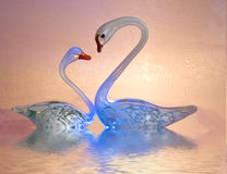 Glass swans Royalty Free Stock Images