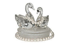 Glass swans with pearls Royalty Free Stock Images
