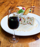 Glass of sweet sherry with dessert Royalty Free Stock Images