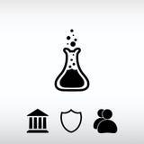 Glass symbol för laboratorium, vektorillustration Sänka designstil Arkivfoton