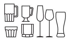 Glass symbolsuppsättning för drink Royaltyfria Bilder