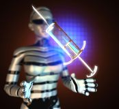 Glass syringe on futuristic  hologram Royalty Free Stock Photography