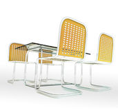 Glass table desk with four chairs Royalty Free Stock Photo