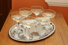 Glass on the table. Glasses on a wooden table Stock Image