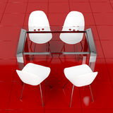 Glass table and white chairs Stock Photo