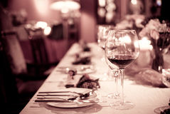 Glass and tableware. On the table Stock Photos